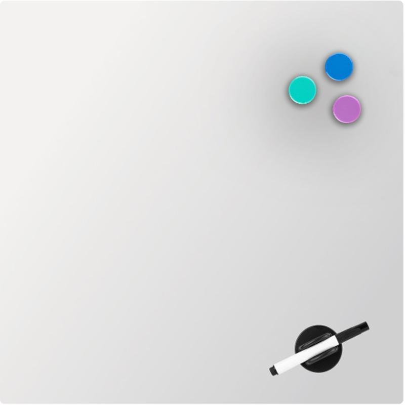 Дошка скляна магнітно-маркерна 45х45 см, біла